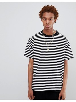 Obey Striped T-Shirt With Icon Box Logo In White - White