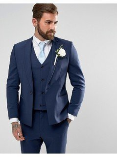 ASOS WEDDING Skinny Suit Jacket With Square Hem In Navy - Navy