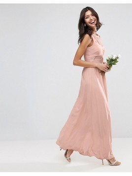 ASOS DESIGN Bridesmaid lace top pleated maxi dress - Pink