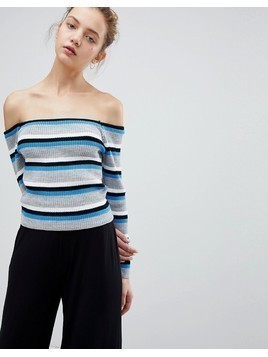 Daisy Street Off Shoulder Jumper In Fine Stripe - Blue