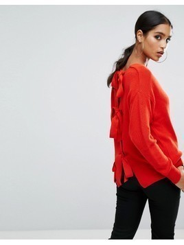 River Island Tie Back Backless Jumper - Red