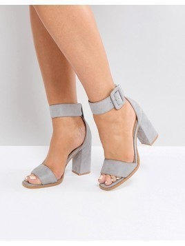 RAID Aveline Grey Block Heeled Sandals - Grey