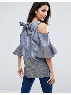 ASOS Mix And Match Stripe Top With Cold Shoulder and Bow Back - Multi