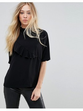 b.Young Ruffle High Neck Blouse - Black