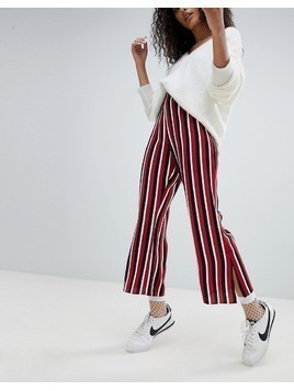Nobody's Child Kick Flare Trousers In Stripe - Red