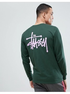 Stussy Long Sleeve T-Shirt With Back Logo In Green - Green