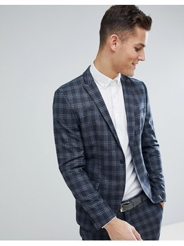 Selected Homme Skinny Suit Jacket In Navy Check - Navy