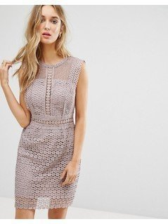 New Look Cutwork Lace Shift Dress - Grey