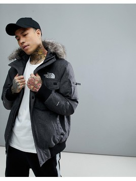 The North Face Gotham Bomber Jacket with Detachable Faux Fur Hood in Grey - Grey