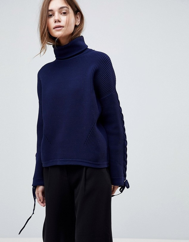 ASOS Premium Jumper with High Neck and Cable Sleeve - Navy
