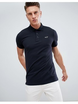 Hollister core pique polo seagull logo slim fit in black - Black