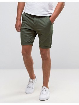 ASOS Skinny Chino Shorts In Forest Green - Green