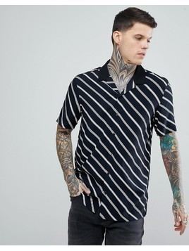 ASOS Oversized Stripe Shirt With Contrast Collar - Black