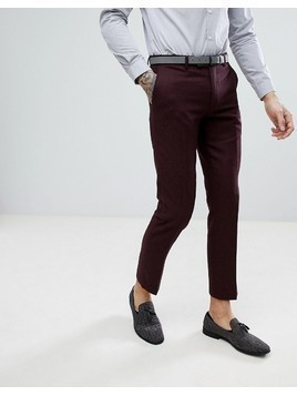 Harry Brown Burgundy Flannel Slim fit Wool Blend Suit Trousers - Red