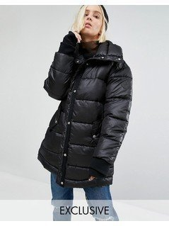Puffa Oversized Longline Padded Jacket With Fishtail Detail - Black