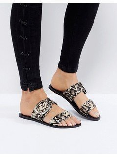 New Look Snake Print Leather Buckle Sandal - Black