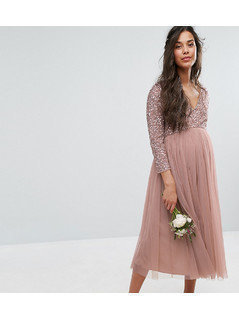 Maya Maternity 3/4 Sleeve Midi Dress With Delicate Sequin And Tulle Skirt - Pink