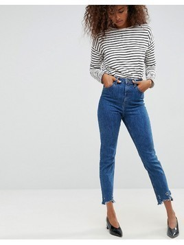 ASOS FARLEIGH High Waist Slim Mom Jeans in Hazel Soft Acid Wash with Arched Raw Hem - Blue