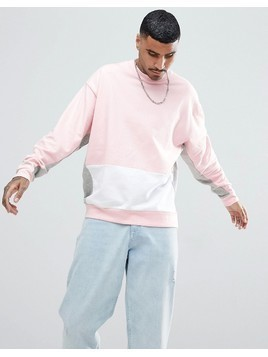 ASOS Oversized Sweatshirt With Colour Blocking - Pink