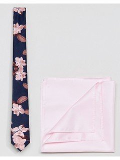 ASOS Navy Floral Tie&Pink Pocket Square - Navy
