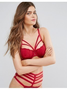 Pour Moi Contradiction Strapped Underwire Bra B-G Cup - Red