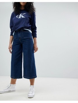 Calvin Klein Surplus Denim Wide Leg Culottes - Navy