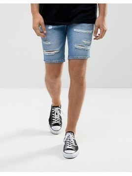 River Island Slim Fit Shorts With Rips In Light Wash - Blue