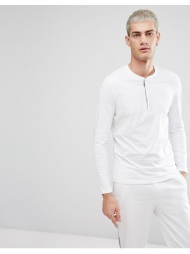 Selected Homme Grandad Long Sleeve Top - White