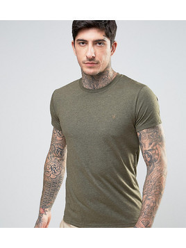 Farah Twisted Yarn T-Shirt in Green Marl - Green