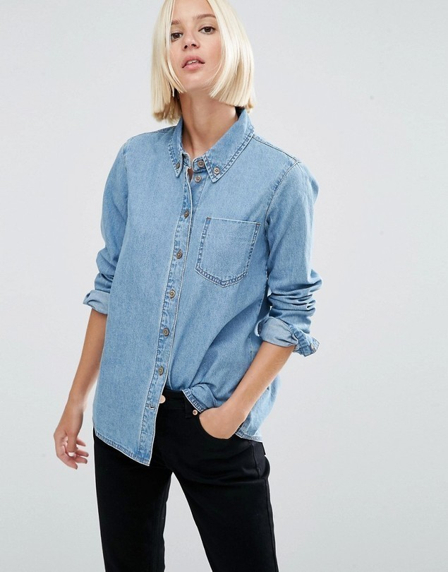 ASOS DESIGN denim shirt in cali light wash - Blue