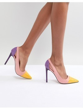 River Island Colour Block Court Heels - Purple