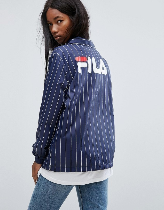 Fila Oversized Coach Jacket With Back Logo In Pin Stripe - Navy