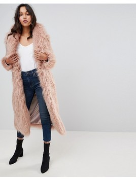 Boohoo Faux Fur Coat - Pink