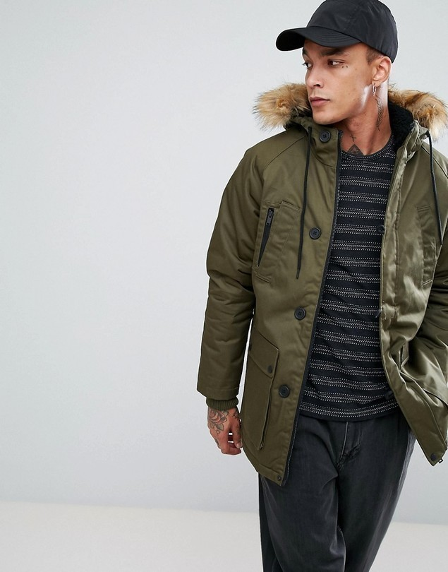Bershka Parka Jacket In Khaki - Green