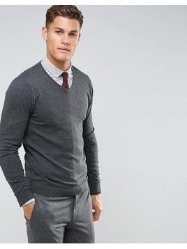Burton Menswear V Neck Knit In Charcoal - Grey