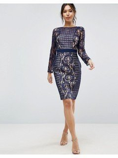 Little Mistress Lace And Mesh Pencil Dress - Navy