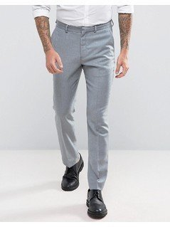 ASOS WEDDING Slim Suit Trouser in Light Grey 100% Merino Wool - Grey