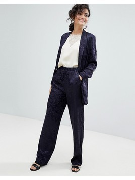 ASOS Tailored Soft Jacquard Trouser - Navy