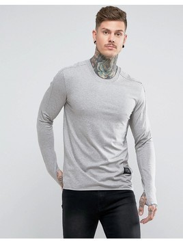 Religion Long Sleeve Muscle T-Shirt With Thumb Hole - Grey