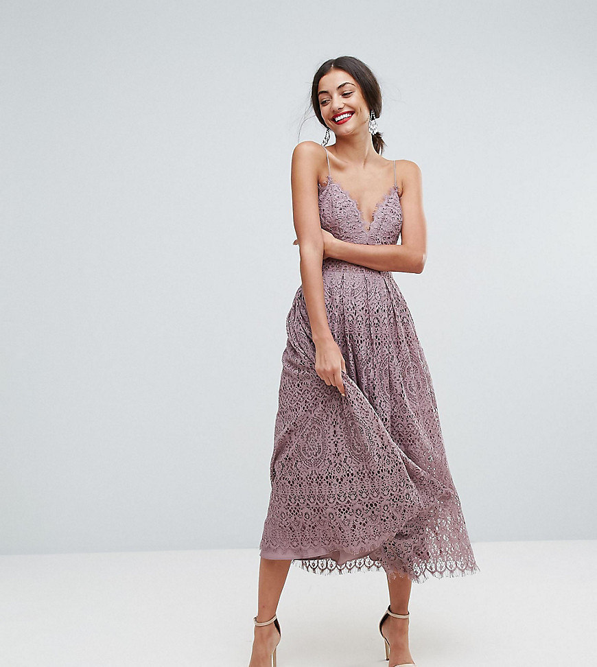 ASOS TALL Lace Cami Midi Prom Dress - Purple
