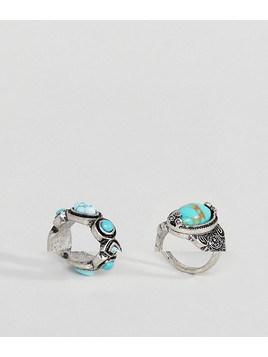 ASOS Pack of 2 Faux Turquoise Stone Rings - Silver