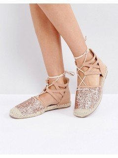 Truffle Collection Glitter Lace Up Espadrille - Gold