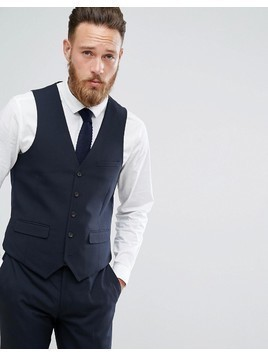 Harry Brown Plain Stretch Slim Suit Waistcoat - Navy
