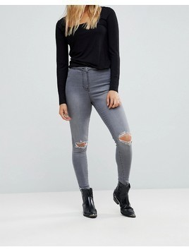 Parisian Ripped Knee Skinny Jeggings - Grey