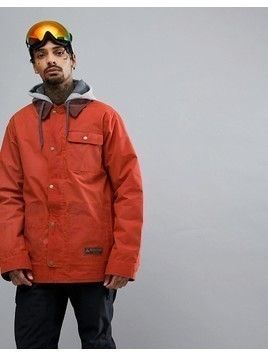 Burton Snowboards Dunmore Ski Jacket Isulated Waxed Canvas Detachable Sweat Hood in Red - Red
