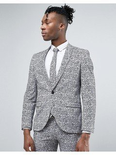 Noose&Monkey Super Skinny Suit Jacket With Floral Flocking - Grey