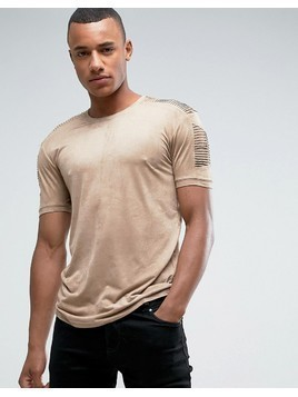 Loyalty and Faith Suedette T-Shirt with Sleeve Detail - Beige