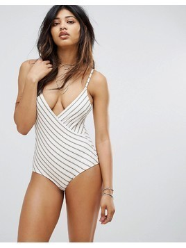 Zulu & Zephyr Stripe Wrap Front Swimsuit - Multi
