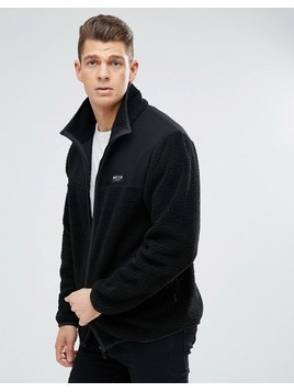 Nicce London Track Jacket In Borg - Black