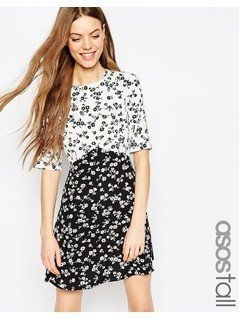 ASOS TALL Mono Print Ditsy Skater Dress - Multi